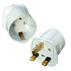 Adaptador enchufe inglés a base europea 16A. Mod. VDR-73027