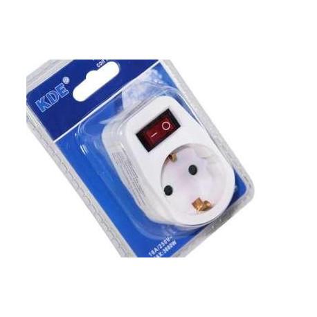 Adaptador enchufe de 1 toma con interruptor kde mod - Interruptor con enchufe ...