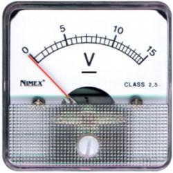 Voltímetro analógico panel 0 a 15 V DC. 44x44. Nimex.