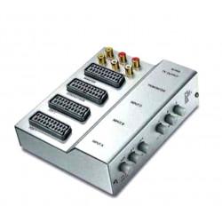 Selector de euroconector de 3 entradas AV y 1 salida manual. Mod. 02-0853