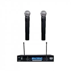Sistema bi-canal de microfonía inalámbrica en la banda UHF. Receptor + 2 micrófonos de mano MM 102