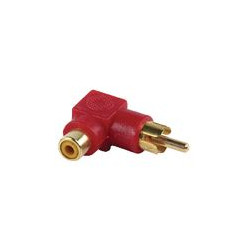 Adaptador acodado RCA hembra a RCA macho dorado rojo
