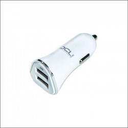 Cargador USB doble de coche para dispositivos Apple y Android blanco