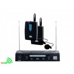AMS MV100LV Doble microfono VHF inalambrico levalier
