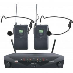 Conjunto inalámbrico con 2 emisores + 2 micrófonos solapa, recargable por USB