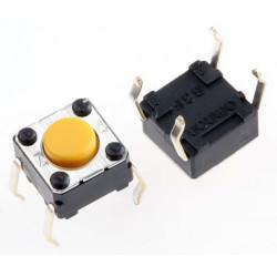 Interruptor Táctil tipo Émbolo, Amarillo, contactos SPST-NA. Mod. B3F-1002