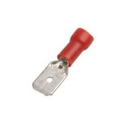 Terminal de faston macho preaislado 6.3mm, rojo, 0.25mm² a 1.5mm². Mod. ASMDD125250