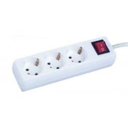 Base múltiple blanca 3 tomas c/interruptor 3 metros Electro DH. Mod. 36.202/3