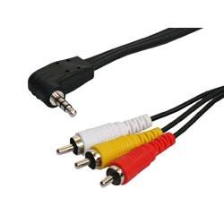 Conexión Audio-Vídeo con Jack Ø 3,5mm Estéreo 4 contactos a Tres R.C.A. Machos. 1.5 metros. Mod. 1033