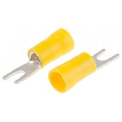 Terminal horquilla preaislado 6.3mm, amarillo, 4 mm² a 6mm². Mod. ASV556