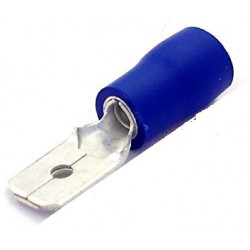 Terminal de faston macho preaislado 6.3mm, azul, 1.5 mm² a 2.5mm². Mod. ASMDD2250