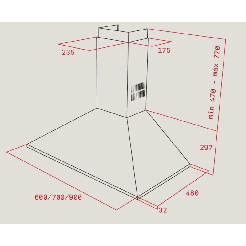 Campana de pared piramidal dbp 60 pro eec eu de teka mod - Instalacion campana extractora ...