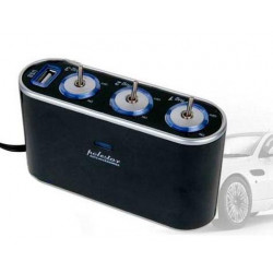 Cargador Mechero Triple Switch USB. Mod. WF0306