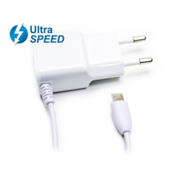 Cargador Micro USB UltraSpeed 2.1A Blanco Biwond. Mod. 50579