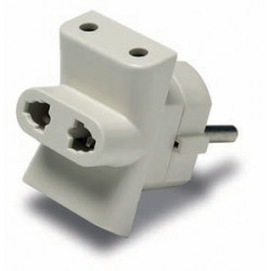 Adaptador triple 10A/250V ESPIGA Ø4,8 mm. Mod. 1203