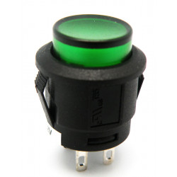 PULSADOR LUMINOSO INTERRUPTOR ON-OFF, 4P. 12V, Ø 15mm COLOR VERDE. MOD. 3617V