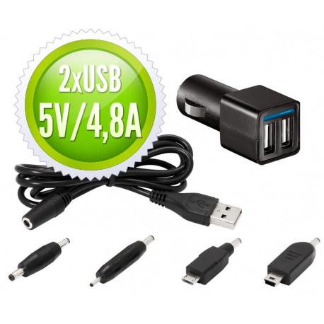 Cargador de coche para tablets y móviles 12V / 2USB x 2,4A. Mod. CAR227