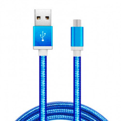 Cable USB a Micro USB 5 Pines (Carga & Transferencia) Metal Azul 1m Biwond. Mod. 51939