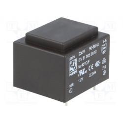 Transformador cerrado 2,3VA 230VCA 12V 191mA PCB. Mod. BVEI3032012