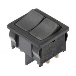 Interruptor unipolar de balancín doble, 2 Ctos. 10A/250Vca