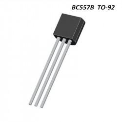 Transistor de Unión Bipolar Único, PNP, 45 V, 150 MHz, 625 mW, 100 mA, 200 hFE. Mod. BC557B