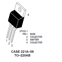 Transistor de Unión Bipolar Único, Propósito General, PNP, -150 V, 30 MHz, 50 W, -8 A, 40 hFE. Mod. MJE15031
