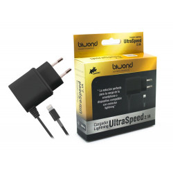 Cargador UltraSpeed Lightning iPhone/iPad Negro Biwond. Mod. 51889