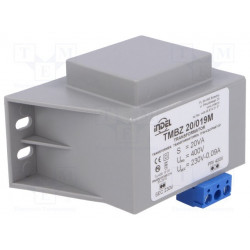 Transformador cerrado 20VA 400VCA 230V 0,08A. Mod. TMBZ20/019M