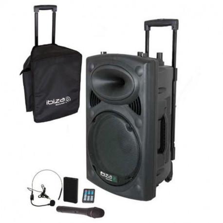 """Sistema de sonido portátil (trolley) Ibiza Sound 15"""" 800W. Mod. PORT15UHF-BT"""