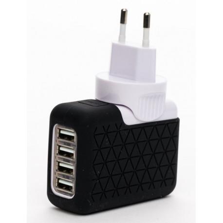 Cargador de dispositivo 4 USB móvil negro Bluestork. Mod. BS-220-4USB-PBK