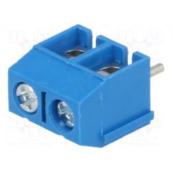 Listón para impresión angulares 90° 5,08mm vías:2 para PCB. Mod. TB-5.08-P-2P/BL
