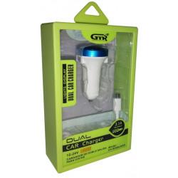 Cargador de coche GMR x2 USB 3100 mAh (Cable MicroUSB incluido). Mod. CH-3012