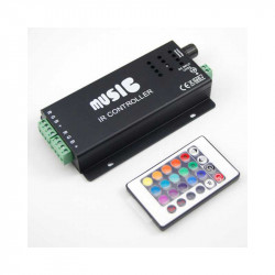 Controlador Led 12/24v RGB Music 180w 18A por infrarrojo 2 salidas. TCONTMUS18A