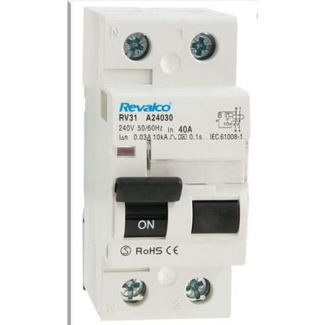 Diferencial superinmunizado 2P 40A 30mA REVALCO RV31. Mod. RV31 A24030