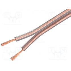 Cable de altavoz CU 2x2,5mm2 OFC transparente 50m. Mod. SC-CU2X2.50-TR050