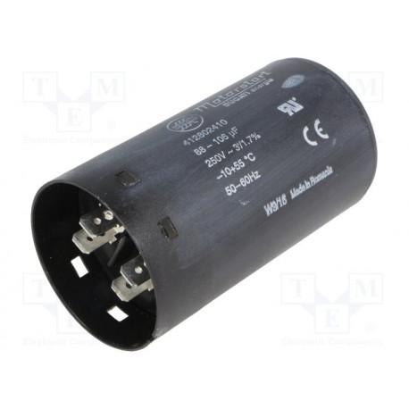 Condensador para motores de arranque 100uF 250VCA -20÷55°C. Mod. 412802360