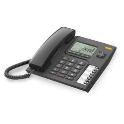 Teléfono sobremesa manos libres con cable negro Alcatel. Mod. ALCATELT76