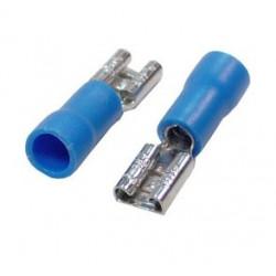 Blíster de 20 terminales faston hembra 6.3 preaislados Sección de 1.0 a 2.5 azul. Mod. VDR-24