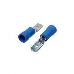 Blíster de 20 terminales faston macho 6.3 preaislados Sección de 1.0 a 2.5 azul. Mod. VDR-25