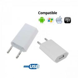 CARGADOR CORRIENTE USB RED DE PARED UNIVERSAL PARA MOVIL SMARTPHONE BLANCO 5V 1A. Mod. TR-USB1A