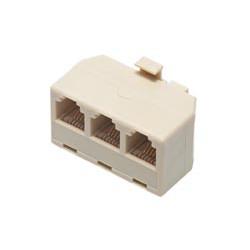 Adaptador modular telefónico rj11 con salida triple 6P. 4C. Mod. 1267