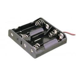 Portapilas plano para 4 pilas de 1'5V (6V). Mod. 33.033