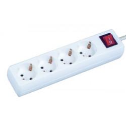 Base múltiple 4 tomas con interruptor luminoso 1.5 metros. Mod. 36.225/NV