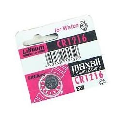 Pila botón litio MAXELL 3V 25mAh. Mod. CR1216