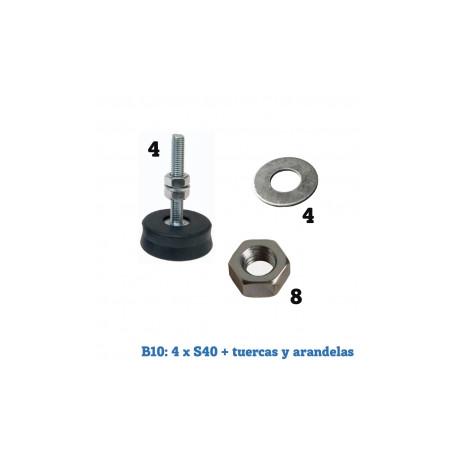 Bolsas amortiguadores splits Suelo 4xS40 + tuercas y arandelas. Mod. AS02125