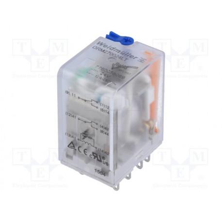 Relé electromagnético DPDT 24VCC 10A/250VAC 10A. Mod. DRM270024LT