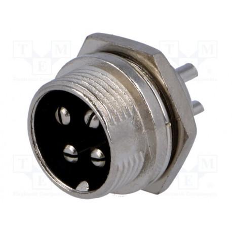 Conector hembra de micrófono macho PIN 4 para panel. Mod. MIC334