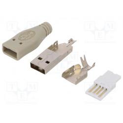 Conector USB A macho para conducto soldar PIN:4 recto. Mod. LOG-UP0001