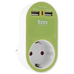 Cargador doble USB 2.4A + schuko verde. Mod. TMUAD114G
