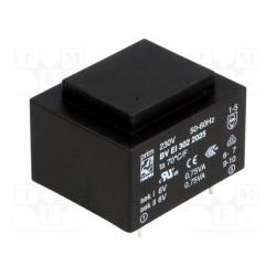 Transformador cerrado 1,5VA 230VCA 2x6V 125mA 70g. Mod. BV EI 302 2025